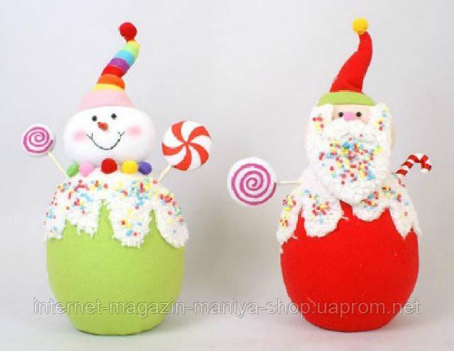 Мягкая игрушка Снеговик, Дед Мороз, 33см