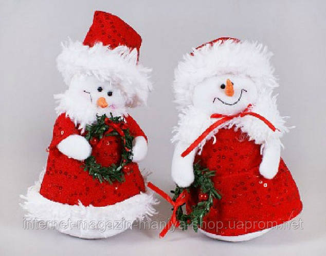 Мягкая новогодняя игрушка Снеговик ,18см