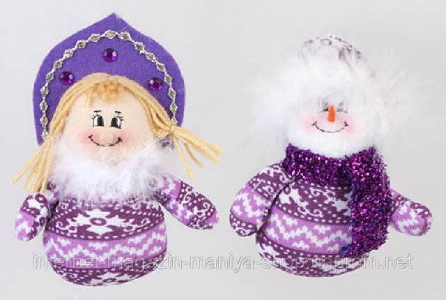 Новогодняя мягкая игрушка Снеговик и Снегурочка, 13см
