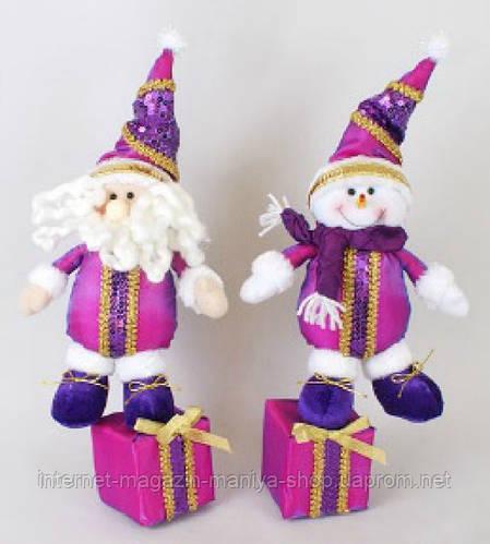 Новогодняя мягкая игрушка Снеговик, Санта, 35см