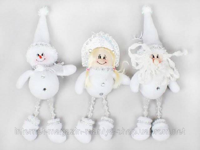 Новогодняя мягкая игрушка Санта, Снеговик, Снегурочка, 23см