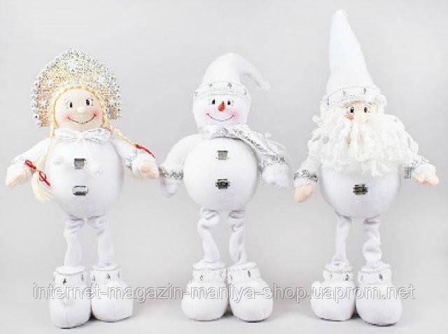 Новогодняя мягкая игрушка Санта, Снеговик, Снегурочка, 43см