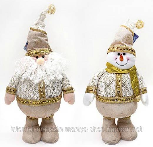 Новогодняя мягкая игрушка Санта, Снеговик, 55см