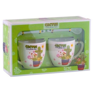 Набор подарочный Чашка+ложка 2шт Кактус 92302-PN