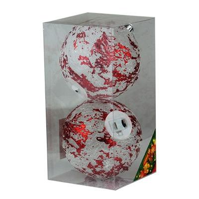 Набор елочных игрушек пластик свет 10см в упак 2шт 92109-PN