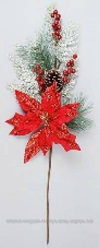 Декоративная ветка с рождественником и ягодами, 85см