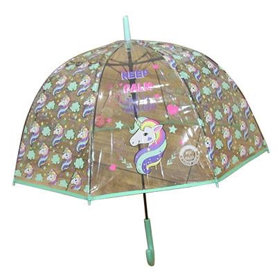 Зонт трость детский прозрачный Единорог арт RST713A 9-241