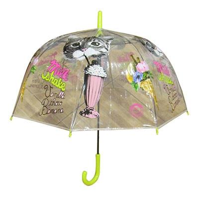 Зонт трость детский прозрачный Котики арт RST808A 9-240
