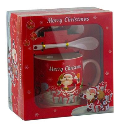Набор подарочный Чашка с крышкой+ложка Санта с подарками 92287-PN