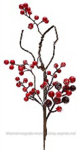 Декоративная ветка с красными ягодами 32см