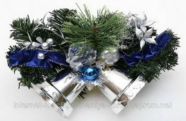 Новогодний декоративный венок с колокольчиками, 35.5см