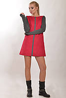 Платье А-силуэта в полуспортивном стиле удлиненный рукав с вырезом для пальца, двусторонняя замша 42-52 размер, фото 1