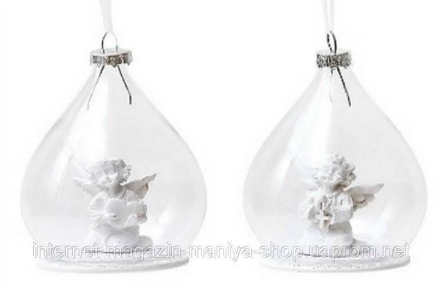 Елочное украшение из стекла с ангелом внутри, 2 асс