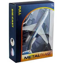 Самолет металл инерция подставка звук,свет в кор-ке Н109-109-1