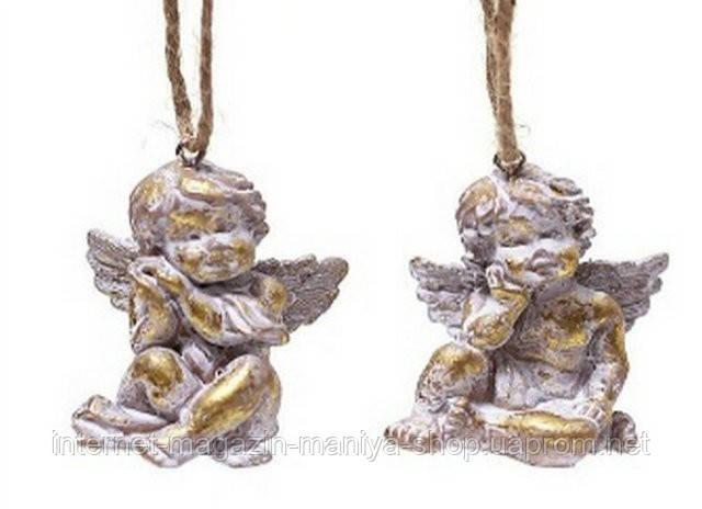 Елочное украшение - Ангел, золото с патиной,  2 асс