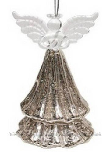 Елочное украшение  14см ангел серебро антик