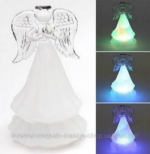 Новогоднее украшение из стекла Ангел  с подсветкой, 15см