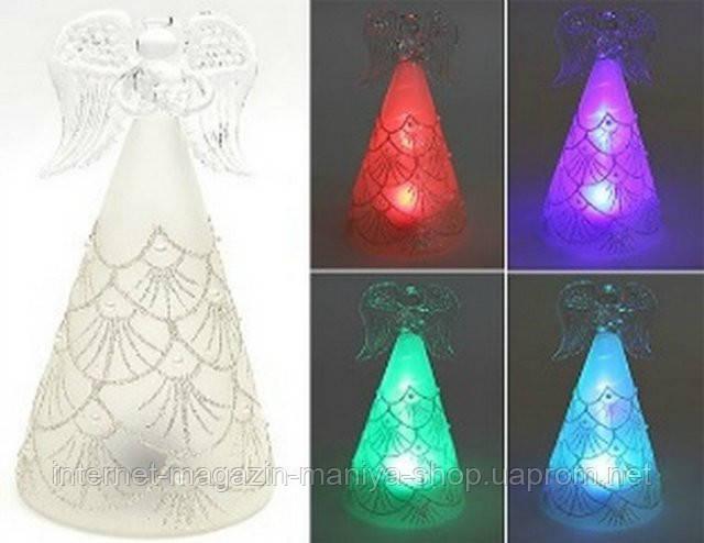 Новогоднее украшение из стекла Ангел  с подсветкой, 18см