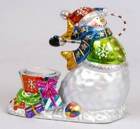 Новогодний подсвечник со свечой Снеговик, 14.8см