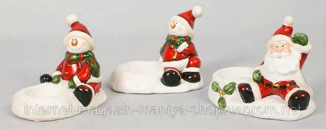 Новогодняя фигурка Санта, Снеговик с подсвечником, 11см