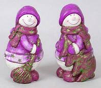 Керамическая новогодняя статуэтка Снеговик, 14см