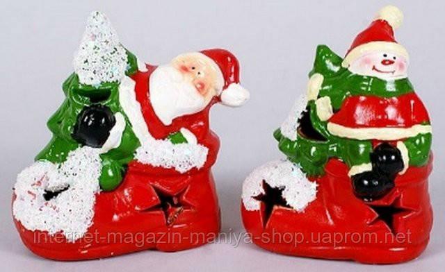 Новогодняя фигурка Санта, Снеговик с подсветкой, 12см