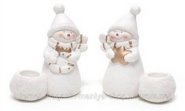 Фигурка снеговик с подсвечником в асс 2