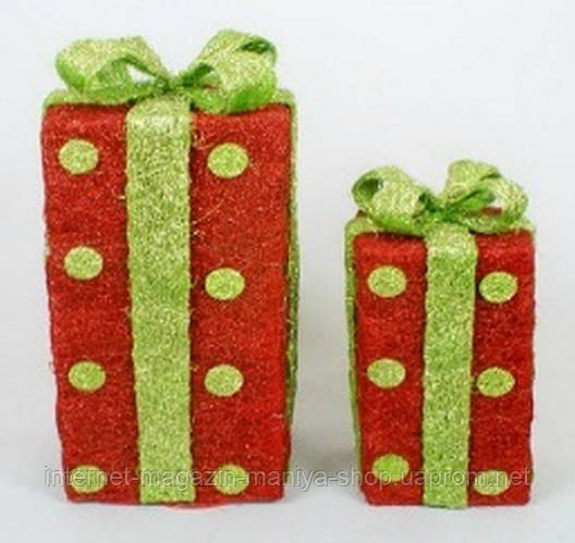 Набор декоративных подарков (2) с подсветкой, 27см и 38см