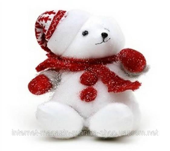 Новогодний декор Медведь в красной шапке 25см