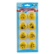 Магнит Смайлик 8шт желтый на блистере 10-51 (23516)