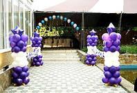 Оформление шарами выпускного вечера.