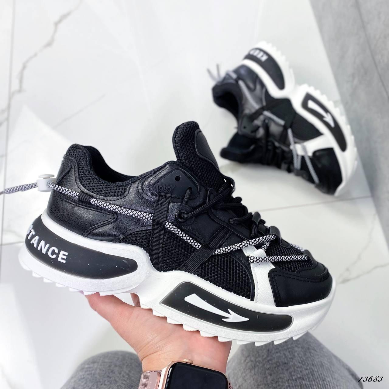 Женские кроссовки черные 13683