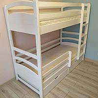 Двухэтажная кровать Милана белая, массив ольхи