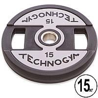 Блин для штанги 15 кг PU с хватом и металлической втулкой d-51мм TECHNOGYM TG-1837-15