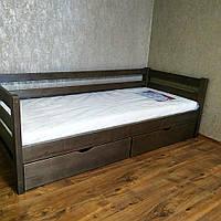 """Односпальная кровать """"Тахта"""" - Томас в тонировке, массив ольхи"""