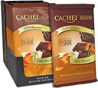 Шоколад бельгийский Cachet 53% Dark Chocolate Bars with Almond черный шоколад с мигдалем 300г