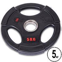 Диск с прорезями для штанги (блин) d-51мм 5 кг обрезиненные с металлической втулкой SC-80154B-5