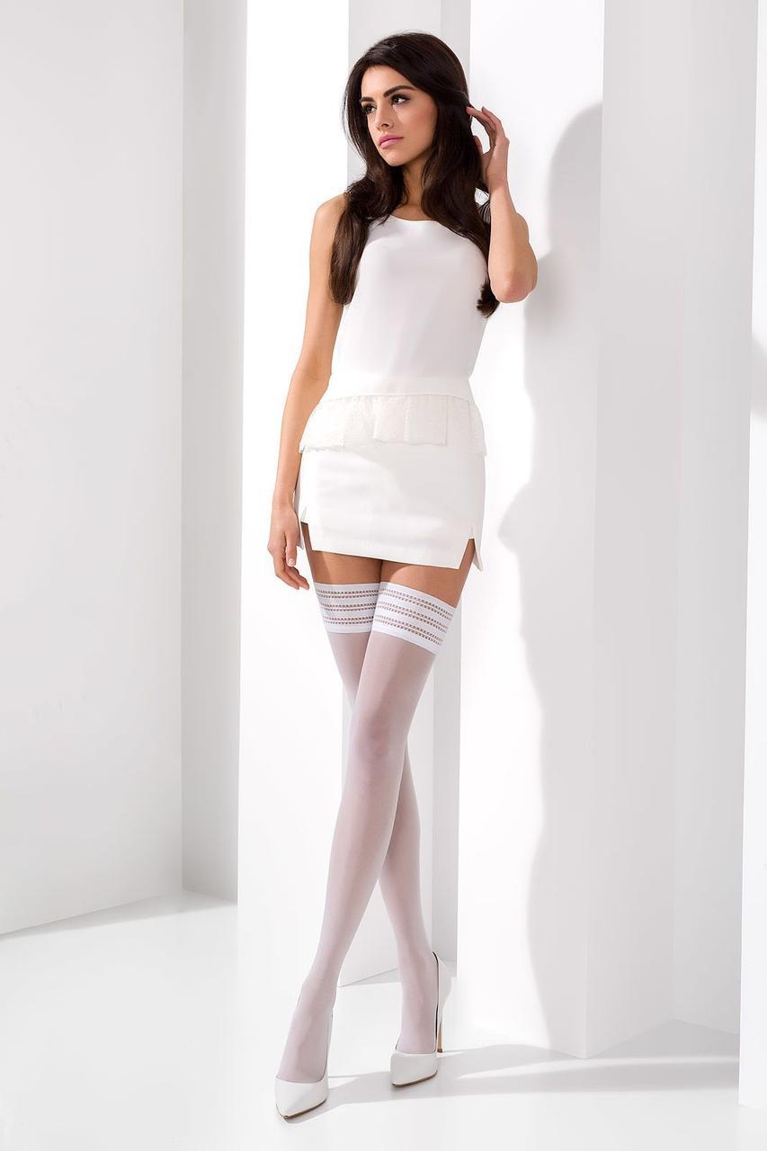 Чулки ST005 1/2 bianco - Passion