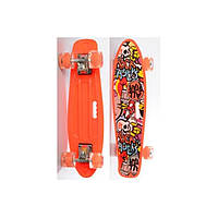 Пенни борд Penny Board (скейт) Оранжевый со светящимися колесами
