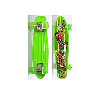Пенни борд Penny Board (скейт) Салатовый со светящимися колесами