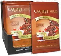 Бельгийский шоколад Cachet 32% Молочный шоколад с карамелью и морской солью 300г