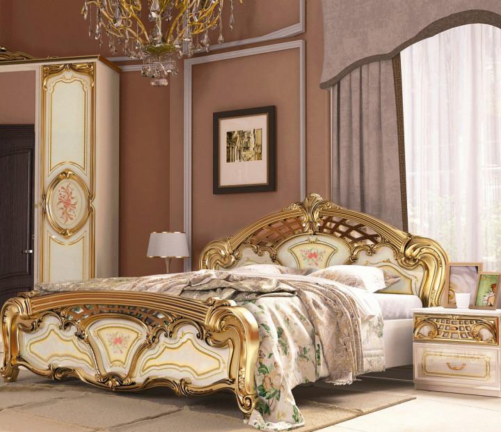 Кровать двуспальная из ДСП и МДФ Реджина Голд (без каркаса и матраса) MiroMark
