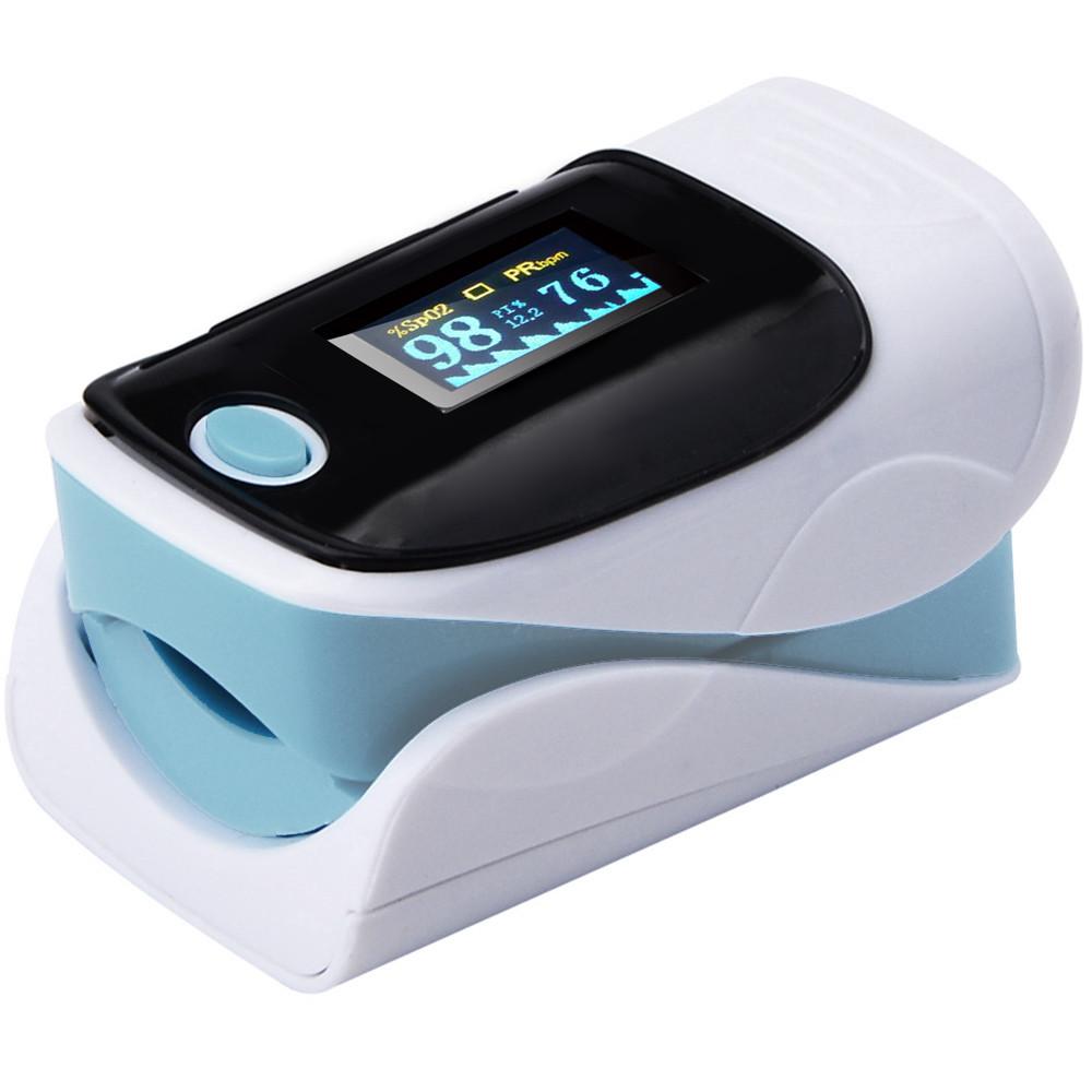 Пульсометр оксиметр на палец (пульсоксиметр) AB-80 Blue