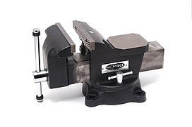 """Тиски стальные поворотные с наковальней + захват для труб 4""""-100мм,сменные губки ROCKFORCE RF-6540204M"""