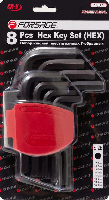 Набор ключей Г-образных 6-гранных, 8 предметов(7-14мм)в пластиковом держателе Forsage F-5087