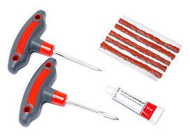 Набор инструментов для ремонта шин 8 предметов(шило и протяжка с прорезиненными рукоятками,шнуры,клей), в