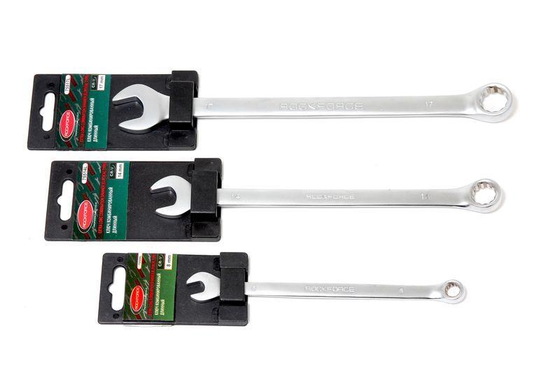 Ключ комбинированный удлиненный 19мм, на пластиковом держателе ROCKFORCE RF-75519L