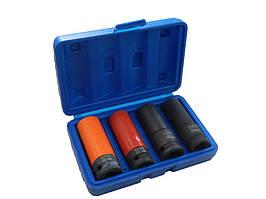"""1/2""""Набор головок ударных тонкостенных 4 предмета(17,19+17.19 мм,в защитном кожухе ) 6гр.сталь повышенной"""