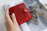 Маленький кожаный кошелек женский Подсолнух красный, Восточный узор, Цветы Солнце Петриковка Птицы Коты, фото 2