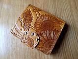 Маленький кожаный кошелек женский Подсолнух красный, Восточный узор, Цветы Солнце Петриковка Птицы Коты, фото 3